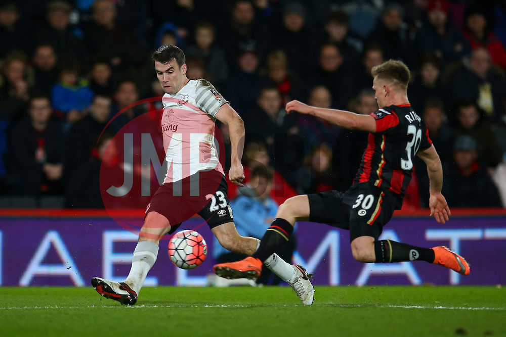 Matt Ritchie of Bournemouth clears the ball under pressure from Seamus Coleman of Everton - Mandatory by-line: Jason Brown/JMP - Mobile 07966 386802 20/02/2016 - SPORT - FOOTBALL - Bournemouth, Vitality Stadium - AFC Bournemouth v Everton - The Emirates FA Cup