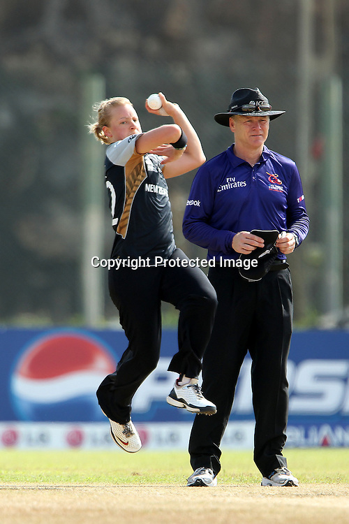 Sian Ruck bowls during the ICC Women's World Twenty20 - between The West Indies and New Zealand held at the Galle International Stadium in Galle, Sri Lanka on the 26th September 2012<br /> <br /> Photo by Ron Gaunt/SPORTZPICS/PHOTOSPORT