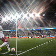 Lloyd Sam, New York Red Bulls, takes a corner during the New York Red Bulls Vs Chicago Fire, Major League Soccer regular season match won 5-4 by the Chicago Fire at Red Bull Arena, Harrison, New Jersey. USA. 10th May 2014. Photo Tim Clayton