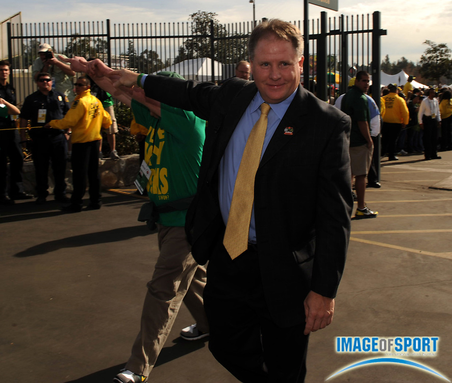 Jan 1, 2010; Pasadena, CA, USA; Oregon Ducks coach Chip Kelly arrives before the 2010 Rose Bowl against the Ohio State Buckeyes.