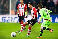 20-03-2016 VOETBAL:PSV-AJAX:EINDHOVEN<br /> Andres Guardado van PSV in duel met Lasse Schone van Ajax <br /> <br /> Foto: Geert van Erven