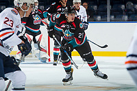 KELOWNA, CANADA - SEPTEMBER 5: Nolan Foote #29 of the Kelowna Rockets skates against the Kamloops Blazers on September 5, 2017 at Prospera Place in Kelowna, British Columbia, Canada.  (Photo by Marissa Baecker/Shoot the Breeze)  *** Local Caption ***