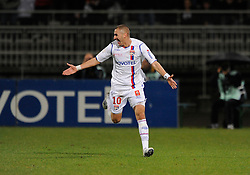 OL's Karim Benzema celebrates after scoring the first goal with Sidney Govou during the French First League Soccer match, Olympique Lyonnais vs Girondins Bordeaux at the Gerland stadium in Lyon, Frace on November 16, 2008. Lyon won 2-1. Photo by Henri Szwarc//Cameleon/ABACAPRESS.COM