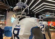 Oct 19, 2018; London, United Kingdom; General overall view of mannequin with the helmet and uniform of Tennessee Titans quarterback Marcus Mariota (8) at Niketown London.