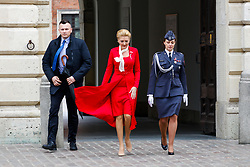 May 2, 2019 - Warsaw, Poland - The first lady of Poland Agata Duda seen arriving at the ceremony. Ceremonial elevation of the Polish state flag at the Clock Tower of the Royal Castle and a couple of presidential members attended the ceremony. (Credit Image: © Lidia Mukhamadeeva/SOPA Images via ZUMA Wire)