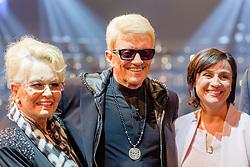 """09.06.2015, WDR Studios, Koeln, GER, TV Show, Ich stelle mich, mit Heino, im Bild vl: Hannelore Kramm (Ehefrau), Heino (Heinz Georg Kramm) und Sandra Maischberger (Moderatorin) // during Germans TV Show """"Ich stelle mich"""" at the WDR Studios in Koeln, Germany on 2015/06/09. EXPA Pictures © 2015, PhotoCredit: EXPA/ Eibner-Pressefoto/ Schüler<br /> <br /> *****ATTENTION - OUT of GER*****"""