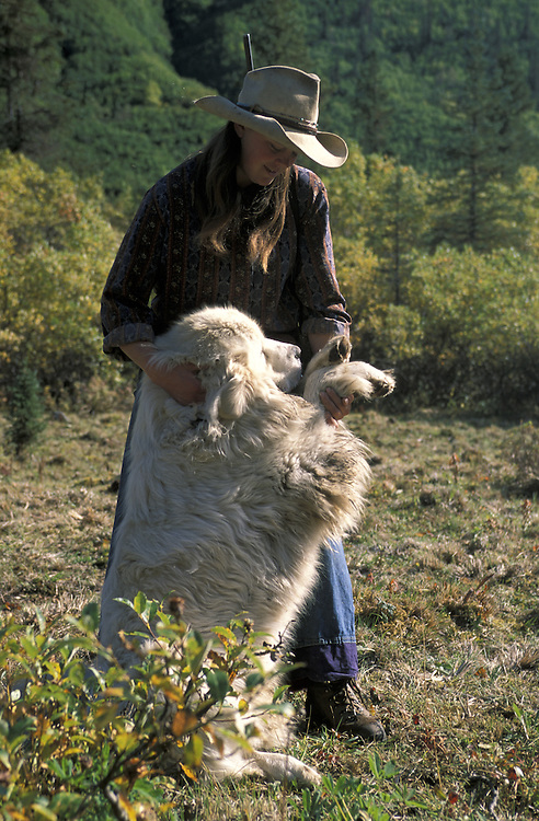Elisheba and her dog.The Pilgrim Family.Alaska.USA