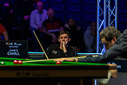 Day 3 of the 19.com World Snooker Home Nations Scottish Open. Action from the Evening session Ronnie O'Sullivan vs James Cahill during the World Snooker Scottish Open at the Emirates Arena, Glasgow, Scotland on 11 December 2019.<br /> <br /> James Cahill sits and watches as Ronnie O'Sullivan completes a 4-0 victory in just 32mins 5 secs