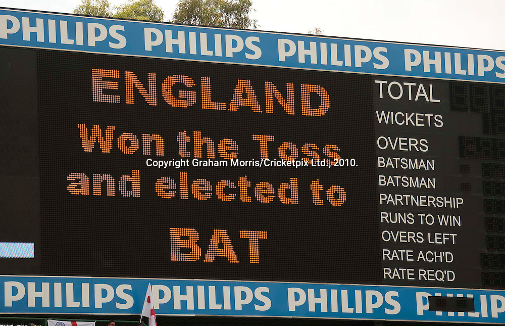 The scoreboard shows the result after captain Andrew Strauss won the toss and batted in the fourth and final Test Match between South Africa and England at the Wanderers Stadium, Johannesburg. England were bowled out for 180 before tea. Photograph © Graham Morris/cricketpix.com (Tel: +44 (0)20 8969 4192; Email: sales@cricketpix.com)