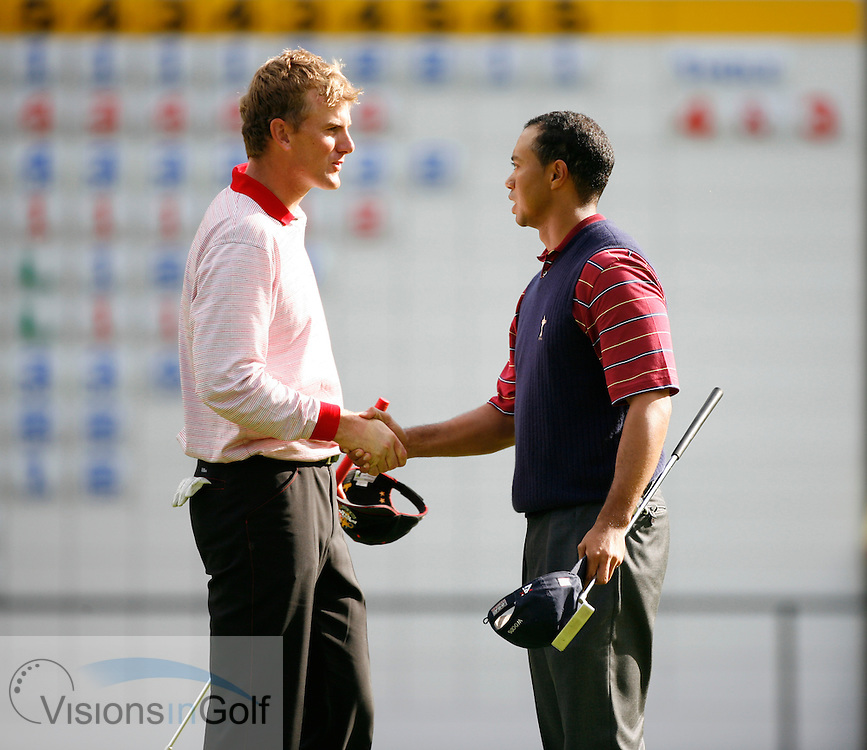 Tiger Woods and robert karlsson after winning on the 16th<br /> on the final day at the 36th Ryder Cup Matches 2006, K Club, Ireland, 060924<br /> Picture Credit: Mark Newcombe / visionsingolf.com