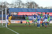 Players compete at a FGR corner during the FA Trophy match between Macclesfield Town and Forest Green Rovers at Moss Rose, Macclesfield, United Kingdom on 4 February 2017. Photo by Shane Healey.