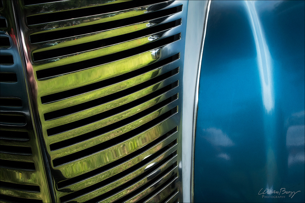 Grill and body detail of an antique car