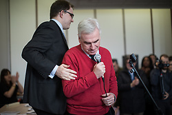 © Licensed to London News Pictures . 19/02/2017. Stoke-on-Trent, UK. Labour Shadow Chancellor John McDonnell (r) joins Gareth Snell (l) - the party's candidate for the seat of Stoke-on-Trent Central - at the Labour Party campaign base on Garth Street in Stoke , with party campaigners , in the final week of the by-election campaign . Photo credit: Joel Goodman/LNP