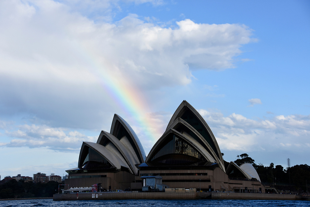 Sydney Opera House with a Rainbow on it view from the water
