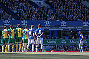 Free kick to Everton during the Barclays Premier League match between Everton and Norwich City at Goodison Park, Liverpool, England on 15 May 2016. Photo by Mark P Doherty.