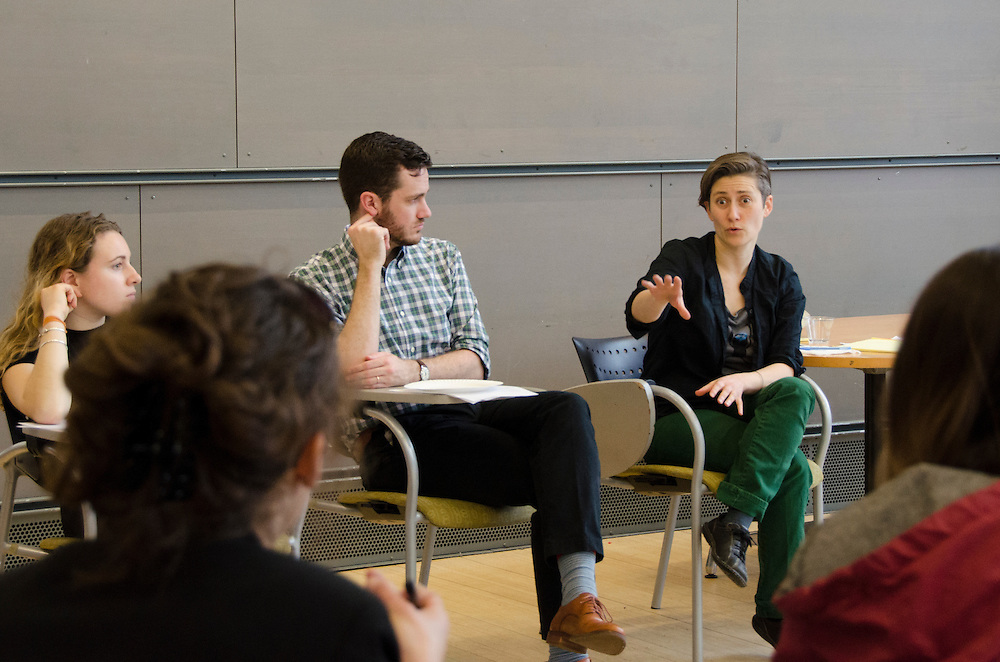 3/10/16 – Medford/Somerville, MA – Associate Professor of Mathematics, Moon Duchin, talks about the newly-launched Science Technology and Society Studies Program (STS) on a student summit in Sophia Gordon Multi-purpose Room on March 10, 2016. (Jiaxun Li / The Tufts Daily)