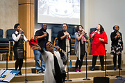 The choir performs during service at Zion Baptist Church in Madison, Wisconsin, Wisconsin, Sunday, Feb. 4, 2018.