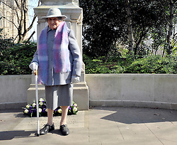©London News pictures. 08/03/11. 105-year-old former suffragette Hetty Bower at the statue of Emmeline Pankhurst to mark International Women's Day. She was  joined by Labour Leader Ed Miliband, Labour Deputy Leader Harriet Harman, and shadow home secretary Yvette Cooper. Emmeline  at the Pankhurst statue at Victoria Tower Gardens, Parliament Square, Westminster, London, Picture Credit should read Stephen Simpson/LNP