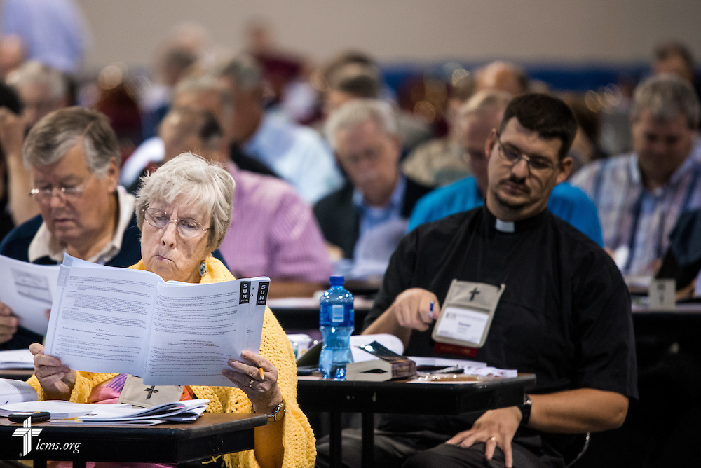 Delegates read through Today's Business on Tuesday, July 12, 2016, at the 66th Regular Convention of The Lutheran Church–Missouri Synod, in Milwaukee. LCMS/Frank Kohn