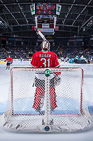 KELOWNA, CANADA - APRIL 14: Cole Kehler #31 of the Portland Winterhawks stands in net against the Kelowna Rockets on April 14, 2017 at Prospera Place in Kelowna, British Columbia, Canada.  (Photo by Marissa Baecker/Shoot the Breeze)  *** Local Caption ***