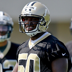Jul 26, 2013; Metairie, LA, USA; New Orleans Saints linebacker Curtis Lofton (50) during the first day of training camp at the team facility. Mandatory Credit: Derick E. Hingle-USA TODAY Sports