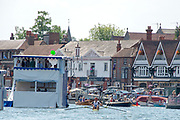 """Henley on Thames, United Kingdom, 8th July 2018, Sunday,  """"Henley Royal Regatta"""",  Double Sculls Challenge Cup , Finalists, Bow Angus GROOM, Stroke Jack BEAUMONT GBR M2X, Leander Club,celebrate as they cross the Finish Line,   View, Henley Reach, River Thames, Thames Valley, England, UK."""