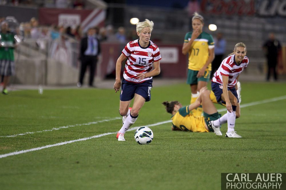 September 19, 2012 Commerce City, CO.  USA m Megan Rapinoe (15) steals the ball during the Soccer Match between the USA Women's National Team and the Women's Australian team at Dick's Sporting Goods Park in Commerce City, Colorado