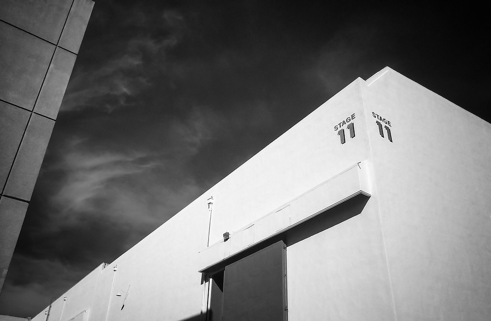 USA, California, Los Angeles. Exterior architecture of a sound stage at a Hollywood studio.