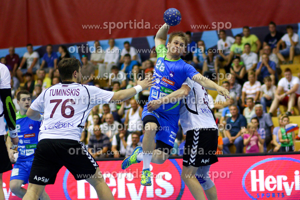Stas Skube of Slovenia during handball match between National Teams of Slovenia and Latvia in Qualification of 2016 Men's European Championship, on June 13th, in Rdeca Dvorana, Velenje. Photo by Morgan Kristan / Sportida