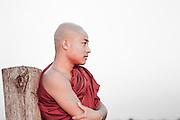 Buddhist monk in U Bein bridge in Amarapura (Myanmar).