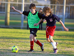28 January 2016. New Orleans, Louisiana.<br /> The Loups Garoux soccer team comprising 4th and 5th graders take to the field at Cuccia Byrnes for their first ever appearance making history for Lyceé Francais de la Nouvelle Orleans. The Loups Garoux had to lend opponents Holy Name the entire 5th grade to make up the numbers in a thrilling 6-8 game with Holy Name emerging victorious at the end.<br /> Photo©; Charlie Varley/varleypix.com