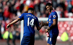 Marcus Rashford of Manchester United celebrates the win over Middlesbrough with Jesse Lingard of Manchester United - Mandatory by-line: Robbie Stephenson/JMP - 19/03/2017 - FOOTBALL - Riverside Stadium - Middlesbrough, England - Middlesbrough v Manchester United - Premier League