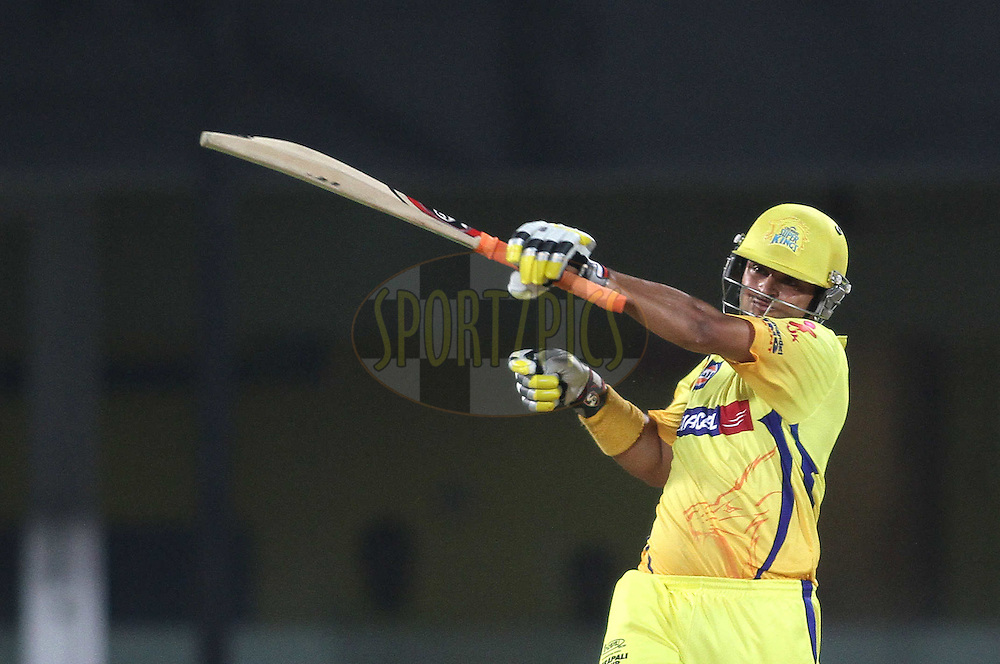 Suresh Raina of the Chennai Super Kings miss times his pull shot during the second Qualifying match of the Indian Premier League ( IPL) 2012  between The Chennai Superkings and the Delhi Daredevils held at the M. A. Chidambaram Stadium, Chennai on the 25th May 2012..Photo by Shaun Roy/IPL/SPORTZPICS