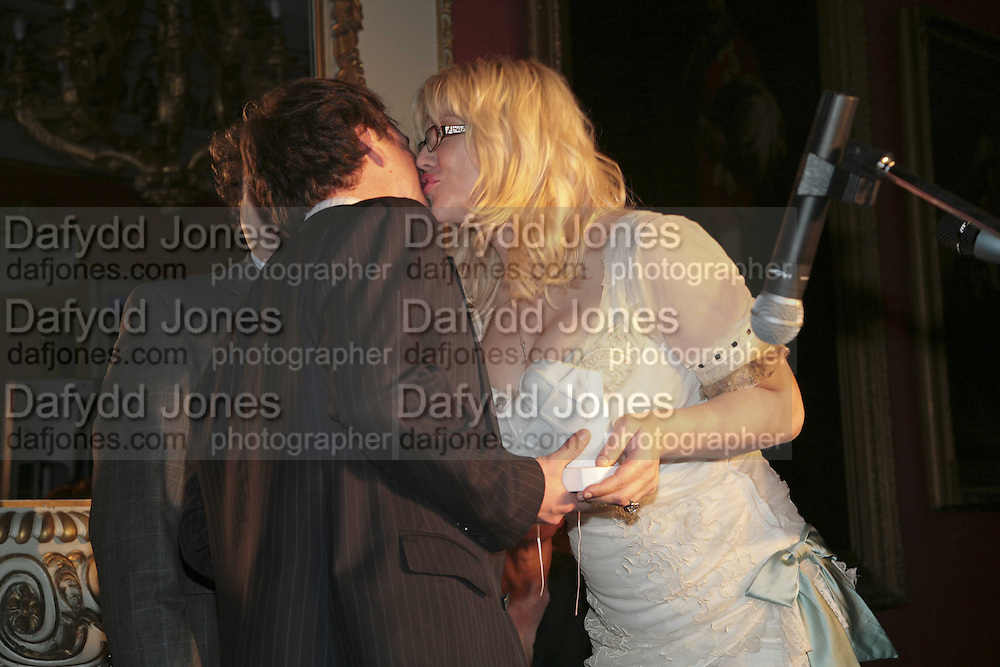 THE WINNER OF THE PRIZE: IAIN HOLLINGSHEAD (PASSAGES IN  HIS BOOK TWENTY SOMETHING)  AND COURTNEY LOVE, Literary Review's Bad Sex In Fiction Prize.  In &amp; Out Club (The Naval &amp; Military Club), 4 St James's Square, London, SW1, 29 November 2006. <br />