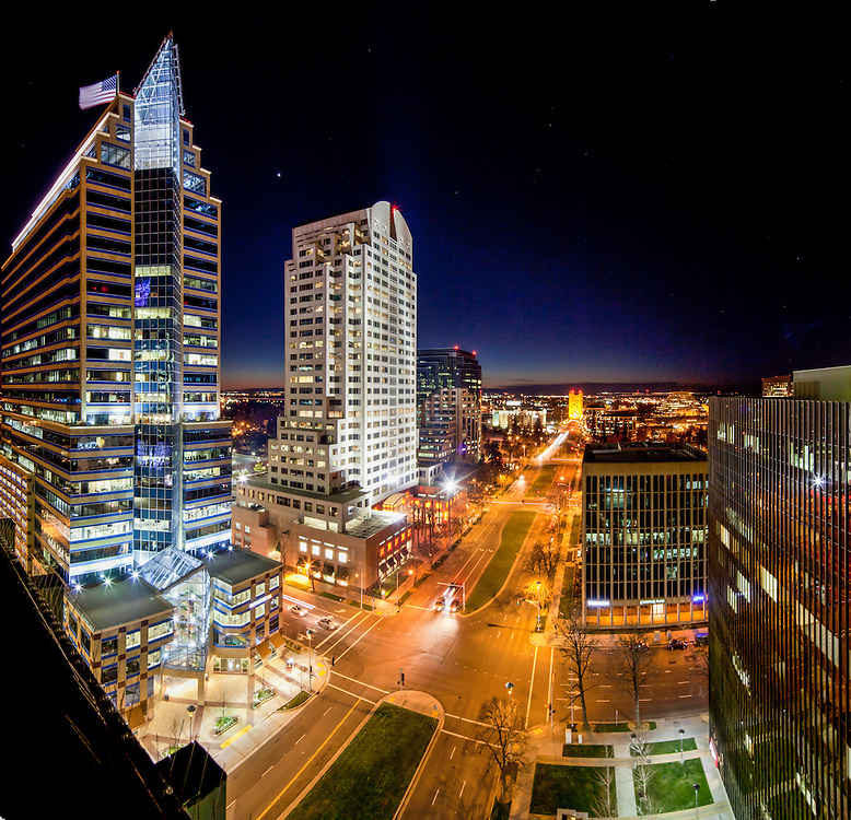 Photographing the Sacramento Skyline from the East Tower of 555 Capitol Mall in Winter 2012.