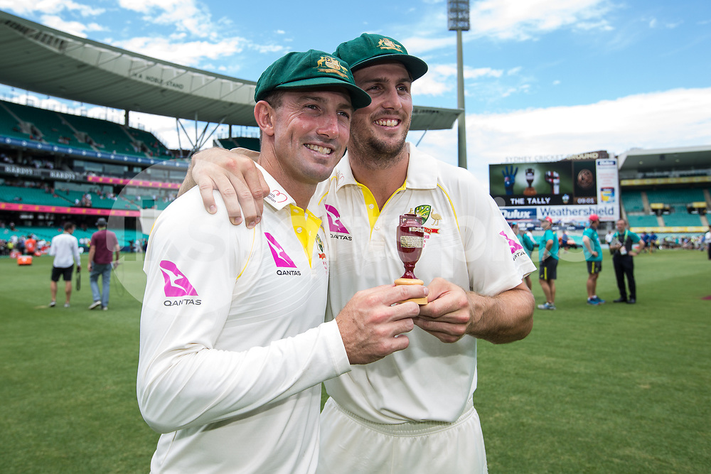The Marsh Brothers of Australia with the Urn during day 5 of the fifth test match during the 2017/18 Ashes Series between Australia and England at  Sydney Cricket Ground, Sydney, Australia on 8 January 2018. Photo by Peter Dovgan.