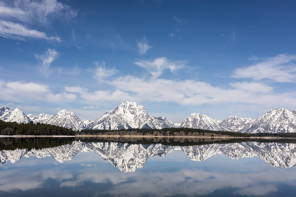 Mt Moran and the Teton Range from Lake Jackson on a spring day