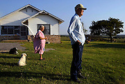 DIGITAL IMAGE----- 09.20.04 --75990---  Eugene and Madeline Stone in front of their home on their 30 acre farm west of Celina, TX on September 20, 2004. The couple have been married for 62 years.