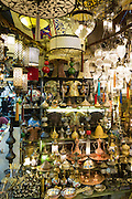 Traditional Turkish ornate lanterns lamps in The Grand Bazaar, Kapalicarsi, great market, Beyazi, Istanbul, Turkey