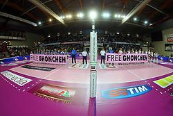 STRISCIONI FREE GHONCHEN<br /> IGOR GORGONZOLA NOVARA - IL BISONTE FIRENZE<br /> CAMPIONATO ITALIANO VOLLEY SERIE A1-F 2014-2015<br /> NOVARA (NO) 08-11-2014<br /> FOTO FILIPPO RUBIN / LVF