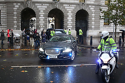 © Licensed to London News Pictures. 05/11/2015. London, UK. Egyptian President Sisi leaves Downing Street via The Treasury exit to avoid protestors in Whitehall after meeting with Prime Minister David Cameron. Photo credit: Peter Macdiarmid/LNP