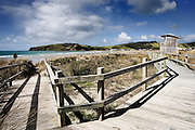 wooden walkway leading across the dunes, past the lookout tower, down to the ocean beach at omaha, rodney district, new zealand
