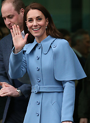 The Duke and Duchess of Cambridge leave after their visit to the Braids Arts Centre in Ballymena to see the workings of the CineMagic charity as part of their two day visit to Northern Ireland.
