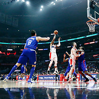 09 December 2017: Washington Wizards forward Markieff Morris (5) takes a jump shot over LA Clippers forward Wesley Johnson (33) and LA Clippers center DeAndre Jordan (6) during the LA Clippers 113-112 victory over the Washington Wizards, at the Staples Center, Los Angeles, California, USA.