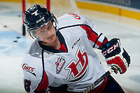 KELOWNA, CANADA - OCTOBER 11: Bryton Sayers #8 of Lethbridge Hurricanes warms up against the Kelowna Rockets on October 11, 2014 at Prospera Place in Kelowna, British Columbia, Canada.   (Photo by Marissa Baecker/Shoot the Breeze)  *** Local Caption *** Bryton Sayers;