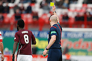 Hearts FC Midfielder Prince Buaben yellow carded during the Ladbrokes Scottish Premiership match between Hamilton Academical FC and Heart of Midlothian at New Douglas Park, Hamilton, Scotland on 24 January 2016. Photo by Craig McAllister.