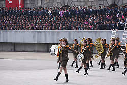 PYONGYANG, April 15, 2017  A military band attends a military parade in central Pyongyang, April 15, 2017. The Democratic People's Republic of Korea (DPRK) Saturday showcased its military muscles by parading all of its most-advanced ballistic and tactic missiles, including a submarine-launched ballistic missile which could strike targets 1000 km away.  wtc) (Credit Image: © Cheng Dayu/Xinhua via ZUMA Wire)