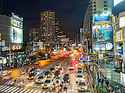 20 SEPTEMBER 2013 - BANGKOK, THAILAND:  The Asoke intersection in Bangkok. This is where Sukhumvit and Ratchadaphisek intersect and is one of the commercial centers of Bangkok. Terminal 21, a new shopping complex is here and Emporium is less than one kilometer away up Sukhumvit. It is also close the entertainment districts of Soi Cowboy and Nana.      PHOTO BY JACK KURTZ
