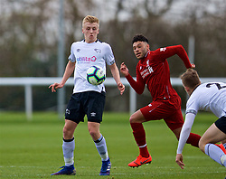 DERBY, ENGLAND - Friday, March 8, 2019: Derby County's Louie Sibley during the FA Premier League 2 Division 1 match between Derby County FC Under-23's and Liverpool FC Under-23's at the Derby County FC Training Centre. (Pic by David Rawcliffe/Propaganda)