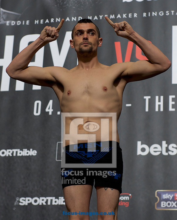 Andoni Gago during the weigh in at the O2 Arena, London ahead of their  Featherweight contest. Picture by Alan Stanford/Focus Images Ltd +44 7915 056117<br /> 03/03/2017